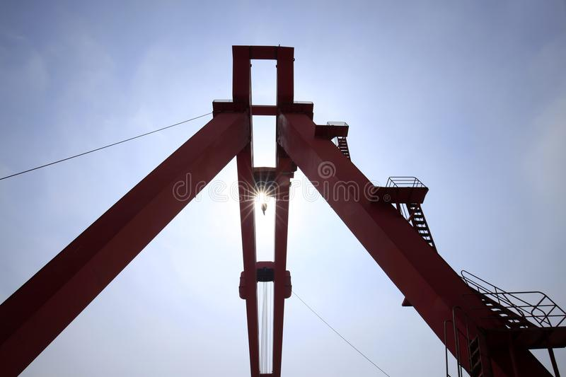 Gantry crane. In the site royalty free stock photos
