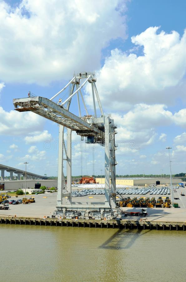 Gantry crane in the port of Savannah, Georgia. Gantry crane waiting for the cargo ship to unload in the port of Savannah, Georgia stock photography