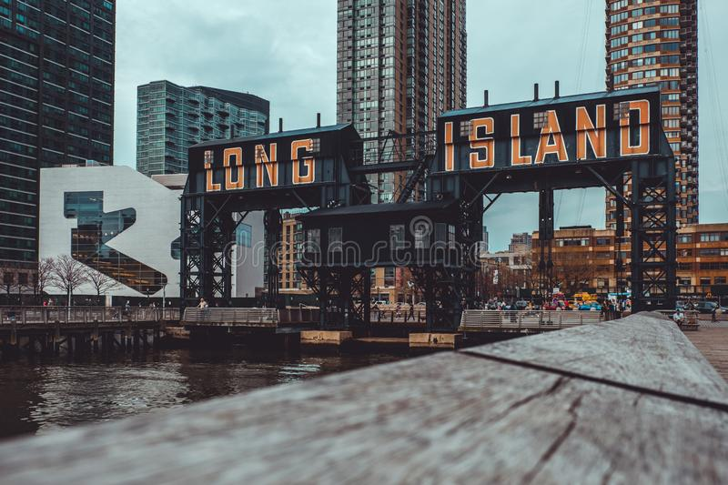 Gantry cranes in Gantry Plaza State Park on the Long Island City waterfront stock images