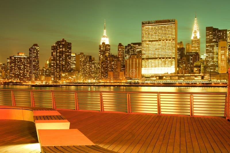 Gantry Plaza State Park and Manhattan skyline in New York City. Gantry Plaza State Park and Manhattan skyline, New York City, NY, USA royalty free stock images