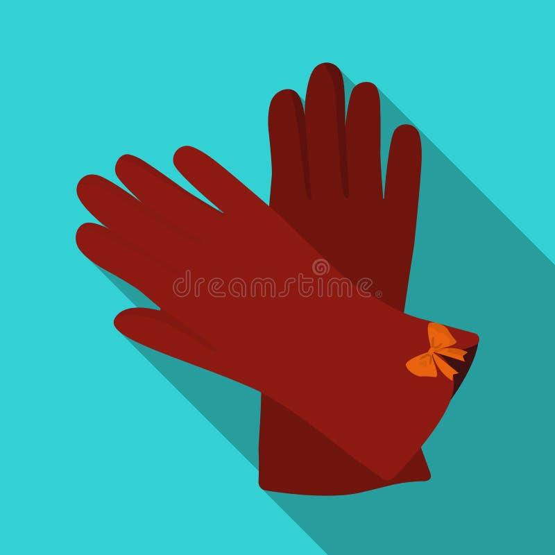 Gants chauds de Bourgogne pour des mains Accessoire femelle d'hiver La femme vêtx l'icône simple du symbole plat de vecteur de st illustration de vecteur