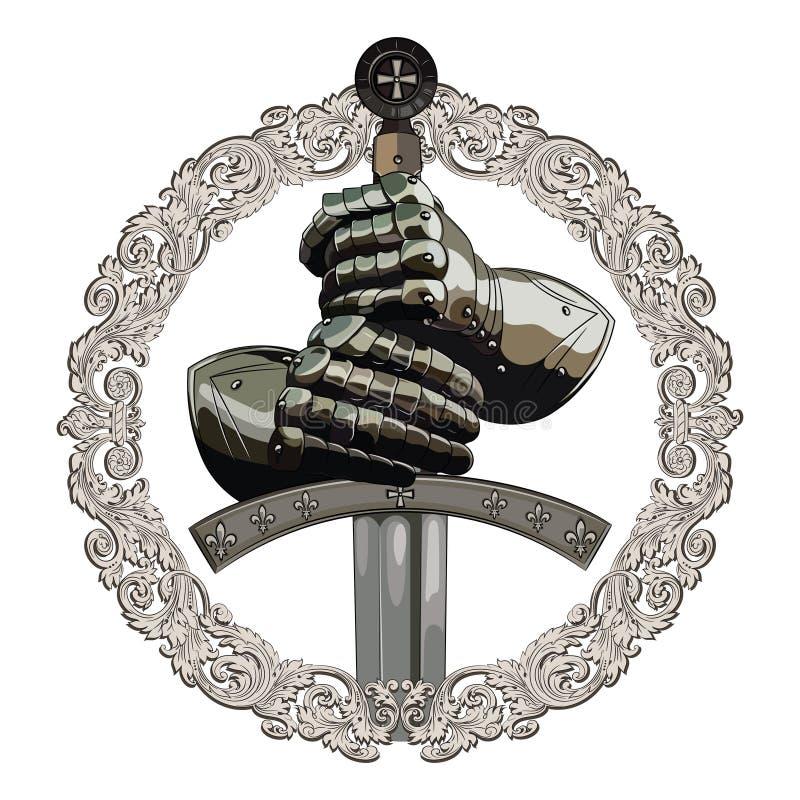Gants d'armure du chevalier et de l'épée du croisé dans le cadre de l'ornement médiéval illustration stock