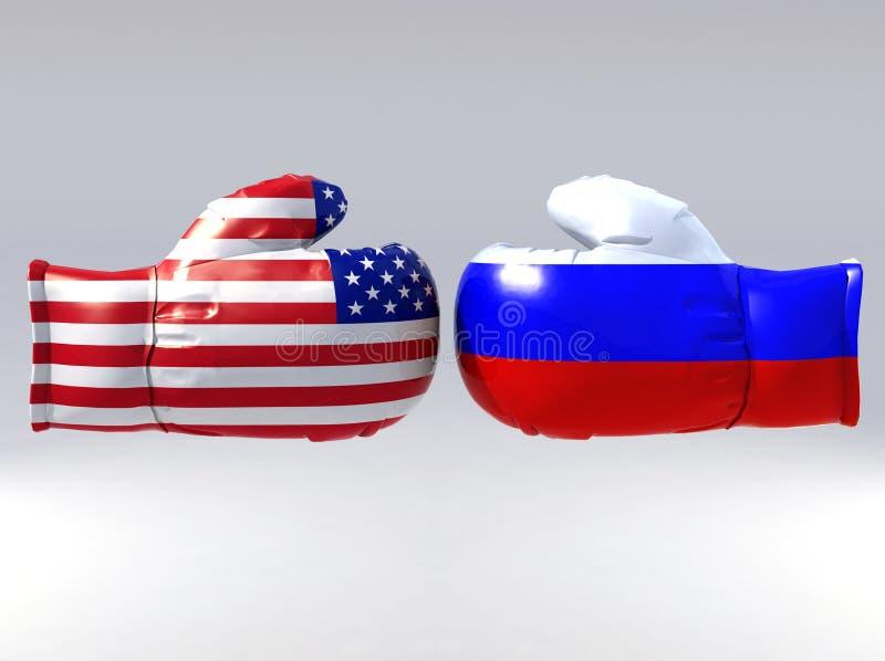 Gants de boxe avec l'indicateur des Etats-Unis et de la Russie illustration libre de droits