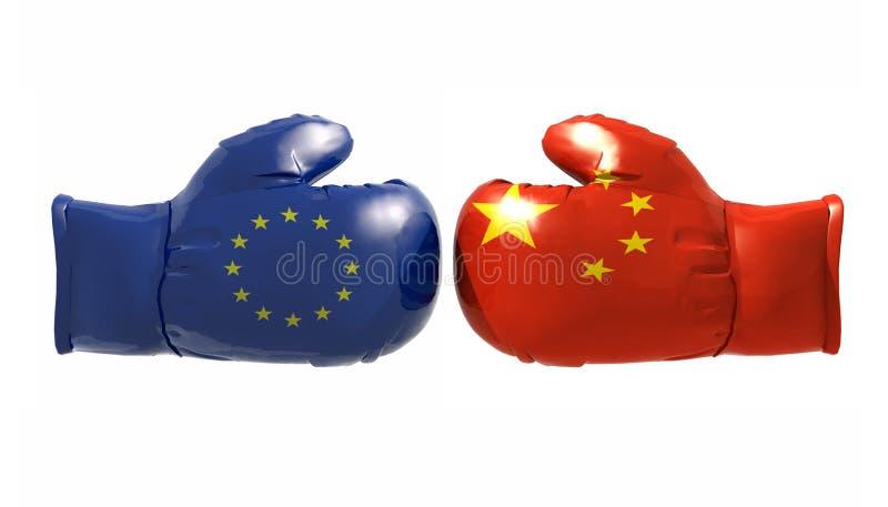 Gants de boxe avec le drapeau d'euro et de la Chine illustration libre de droits