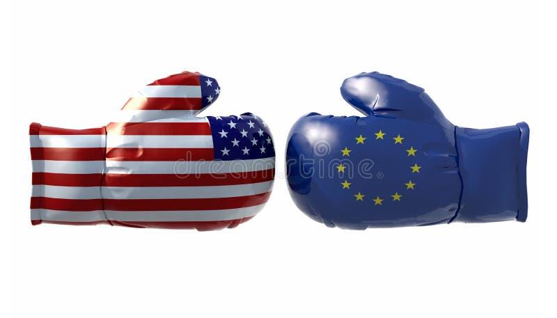 Gants de boxe avec les Etats-Unis et l'euro drapeau illustration stock