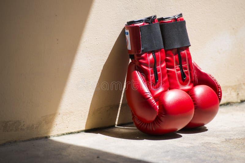 Gants de boxe en cuir rouges photo libre de droits
