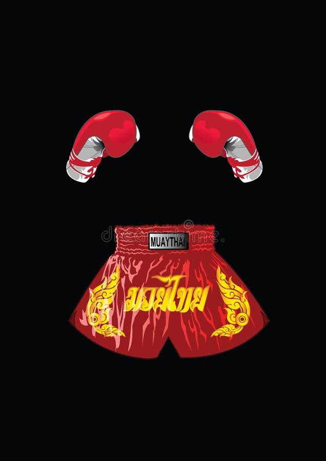 Gants de boxe et shorts thaïlandais de boxeur illustration libre de droits