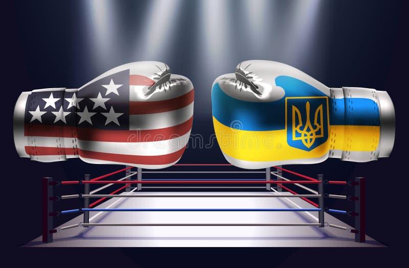 Gants de boxe réalistes avec des copies des Etats-Unis et du fla ukrainien illustration libre de droits