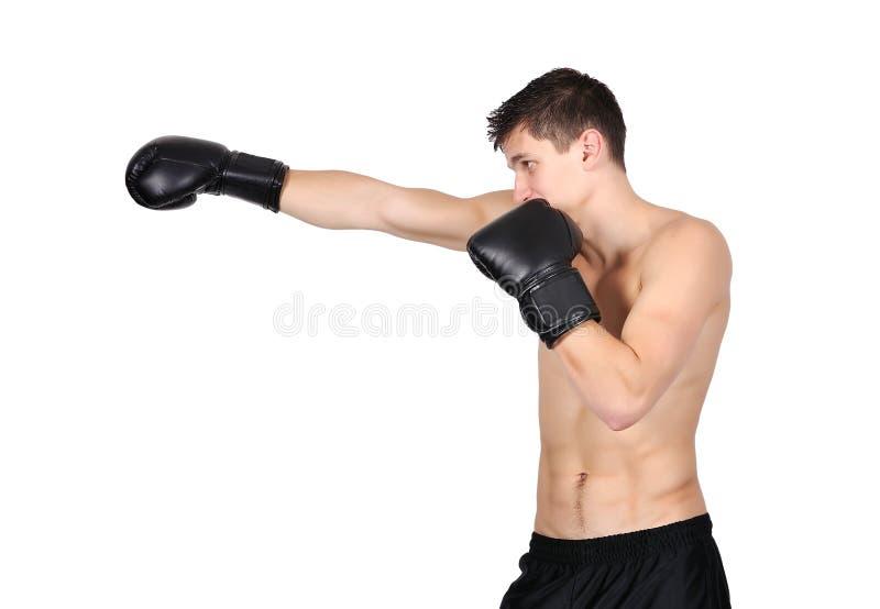Gants de boxe s'usants d'homme photos stock