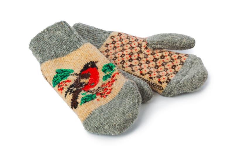 Gants de laine d'hiver images libres de droits
