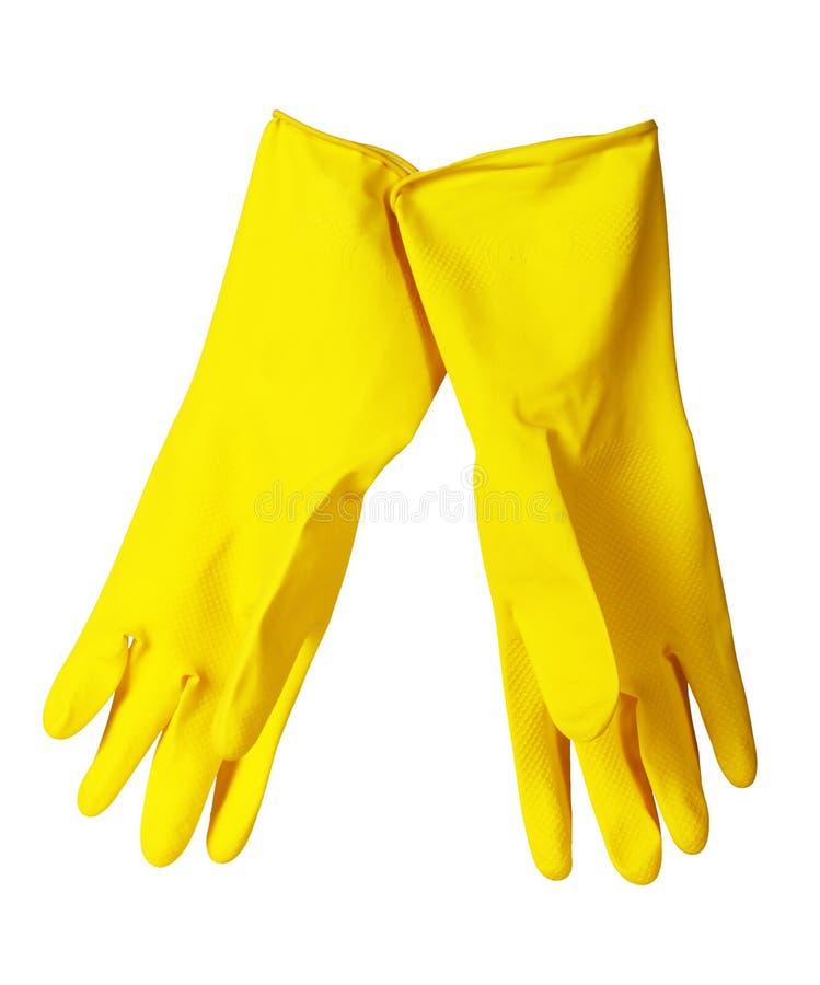 Gants de lavage de paraboloïde jaune photographie stock