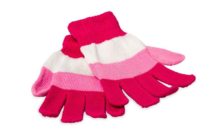 Gants de tricotage d'isolement sur le blanc image libre de droits