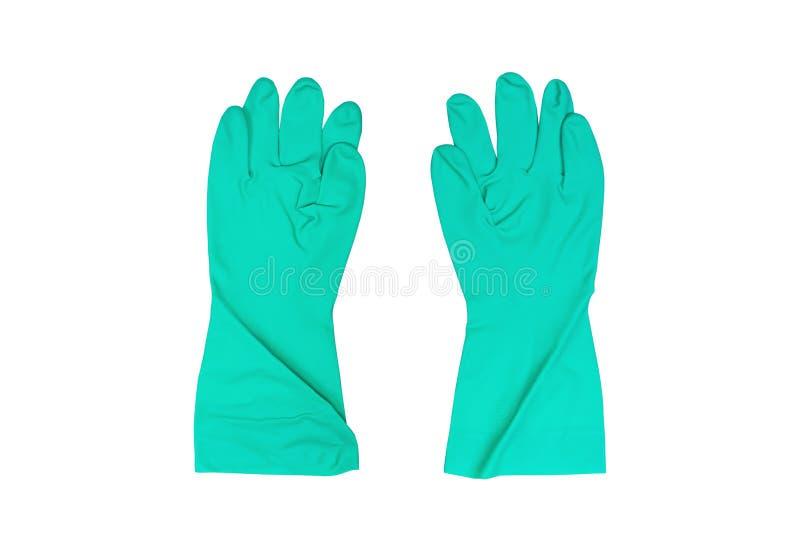 Gants en caoutchouc protecteurs de ménage vert ou gants chimiques d'isolement sur le fond blanc avec le chemin de coupure photos libres de droits