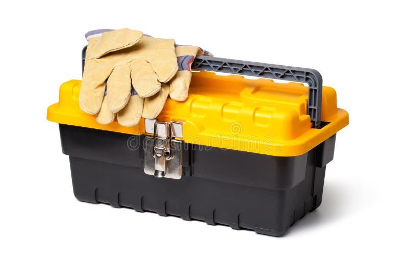 Gants en cuir et boîte à outils photos libres de droits