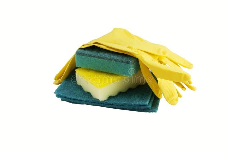 Gants et éponges jaunes en caoutchouc pour le lavage photo libre de droits