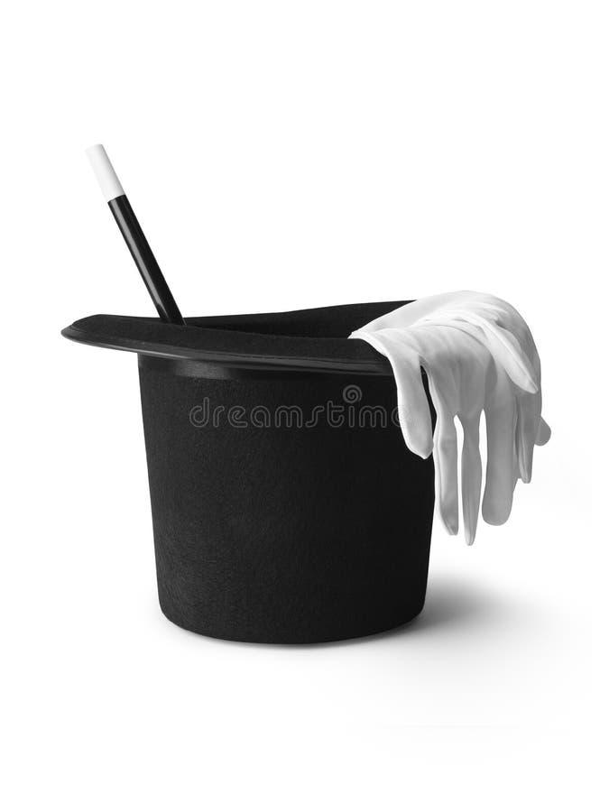 Gants magiques de baguette magique de chapeau supérieur - image courante photographie stock