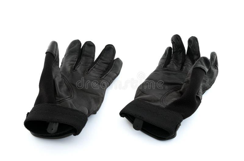 Gants noirs de pâte lisse de base-ball image stock