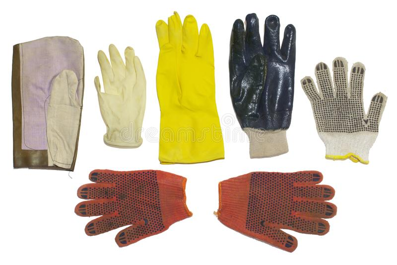 Gants protecteurs types multiples, d'isolement, avec le chemin de coupure photographie stock