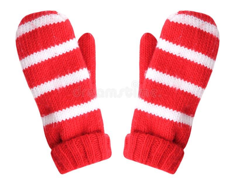 Gants rouges de Noël d'isolement photo libre de droits