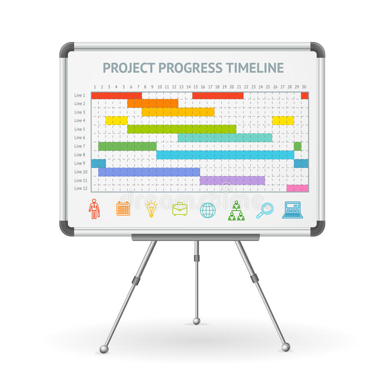 Gantt γραμμή προόδου και λευκός πίνακας διαγραμμάτων κτυπήματος διάνυσμα διανυσματική απεικόνιση
