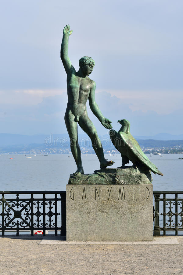 Ganymed statua w Zurich Szwajcaria zdjęcia stock