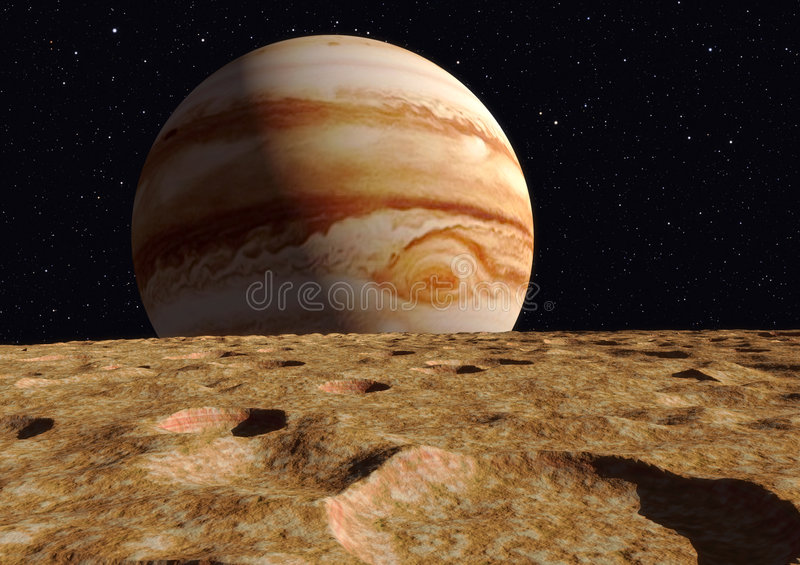 Side by side comparison of the size of Jupiter vs it's moon Ganymede