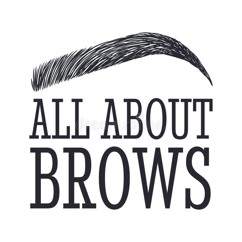 Ganz über Brauen Text und Augenbraue Logo für Brauenstange stock abbildung