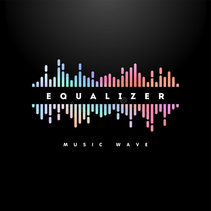 Ganz eigenhändig geschriebe Illustration des Musikwellenvektors stock abbildung