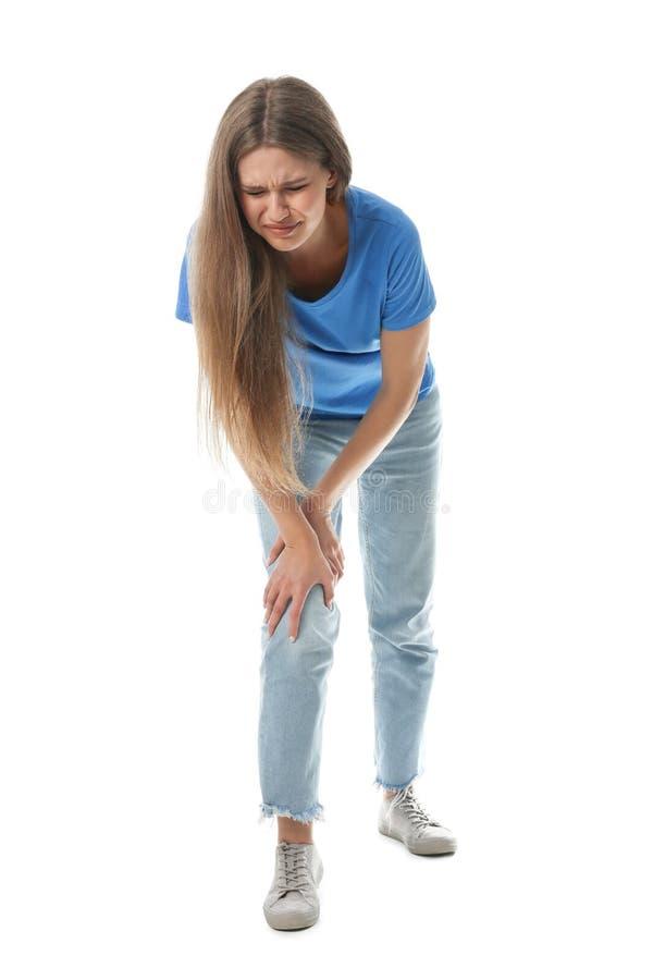 Ganzaufnahme der Frau, die Knieprobleme hat stockfoto
