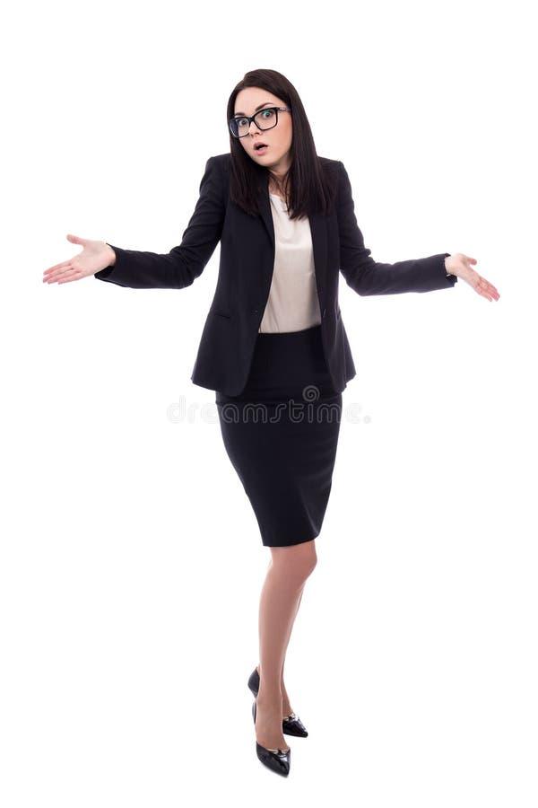 Ganzaufnahme der hübschen Geschäftsfrau zuckt Schultern w stockbilder