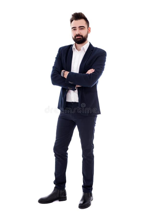 Ganzaufnahme des jungen bärtigen Geschäftsmannes lokalisiert auf Weiß stockfotografie