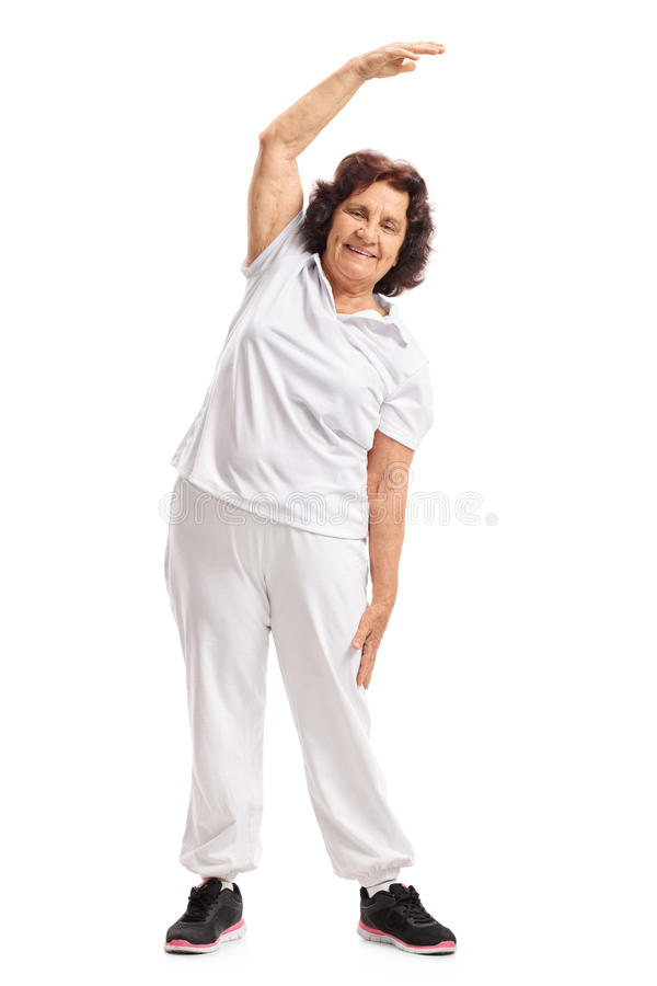 Ganzaufnahme eines älteren Frauentrainierens stockfoto