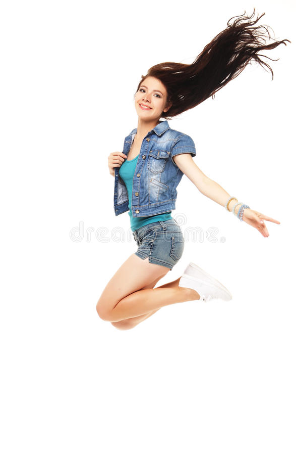 Ganzaufnahme eines jungen schönen e-Mädchens, das ein sho trägt lizenzfreies stockbild
