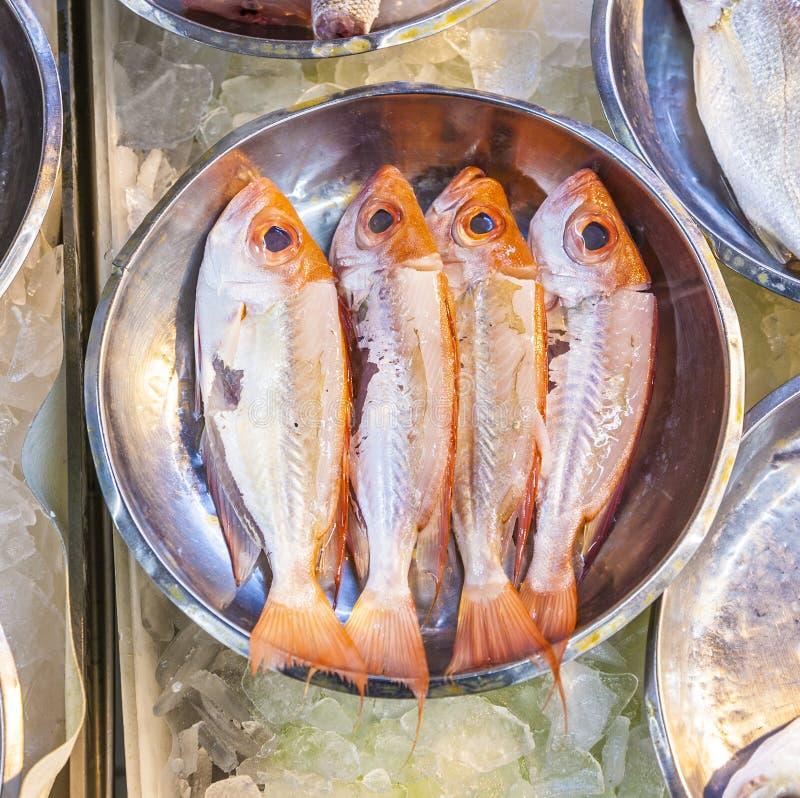 Ganze frische Fische angeboten stockfoto
