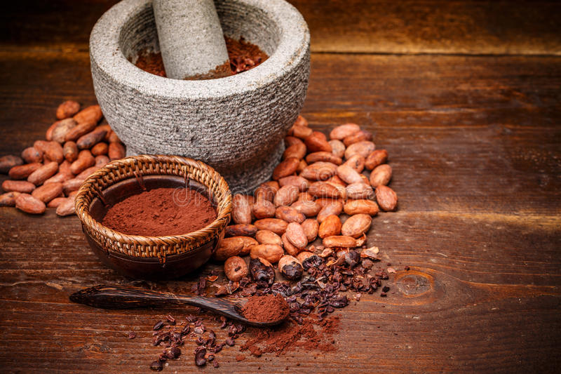 Ganze Kakaobohnen lizenzfreie stockbilder