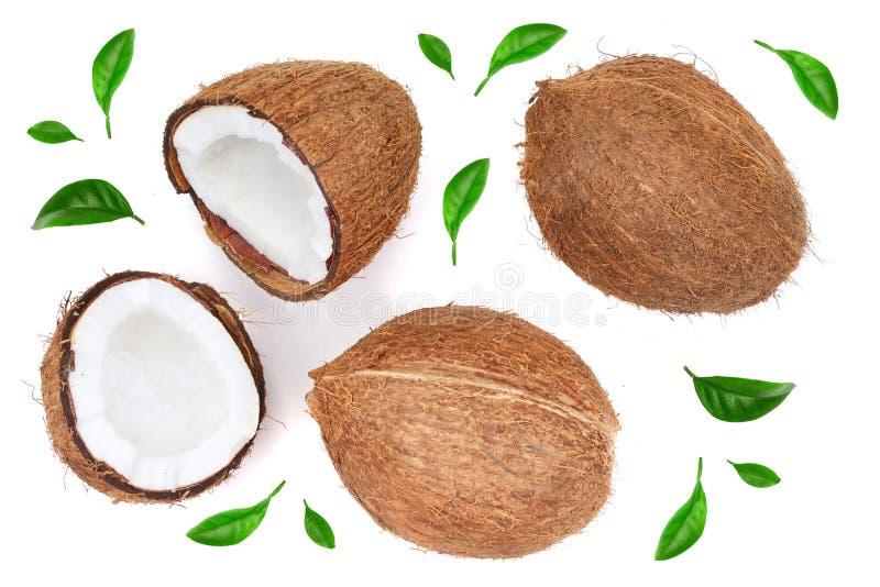 Ganze Kokosnuss mit Hälfte verziert mit den Blättern lokalisiert auf weißem Hintergrund Flache Lage Beschneidungspfad eingeschlos lizenzfreie abbildung