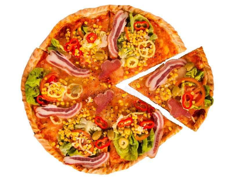 Ganze Pizza stockbild