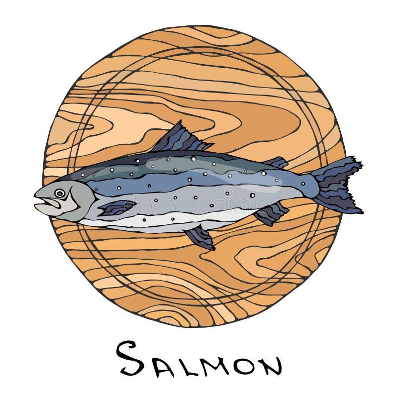 Ganzer roher Salmon Fish auf rundem Schneidebrett Für das Kochen Feiertags-Mahlzeiten, Rezepte, Meeresfrüchte-Führer, Menü Hand g vektor abbildung
