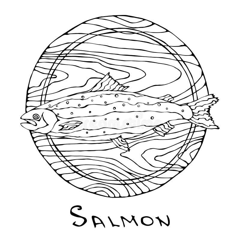 Ganzer roher Salmon Fish auf rundem Schneidebrett Für das Kochen Feiertags-Mahlzeiten, Rezepte, Meeresfrüchte-Führer, Menü Hand g lizenzfreie abbildung