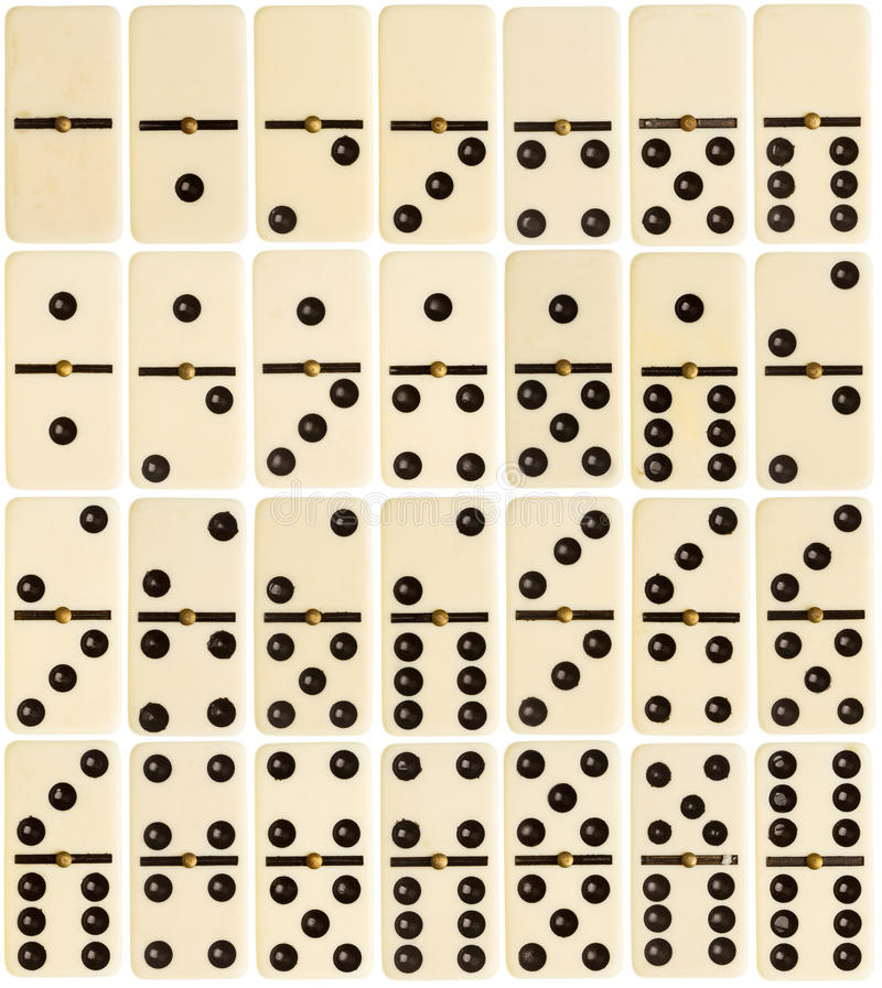 Ganzer Satz Dominofliesen stockfotos