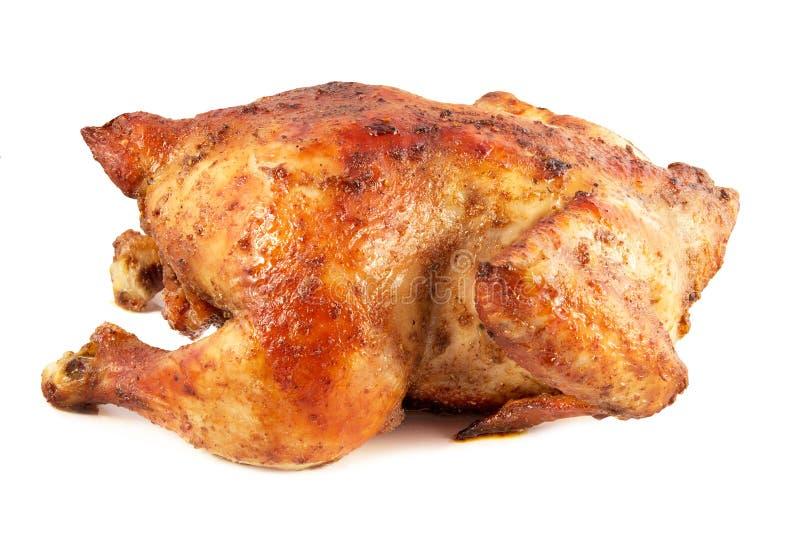 Ganzes grillte das lokalisierte Huhn lizenzfreies stockfoto