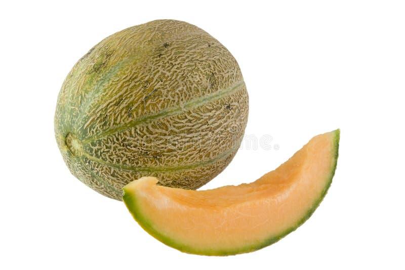 Ganzes und Scheibe des australischen rockmelon lizenzfreies stockfoto