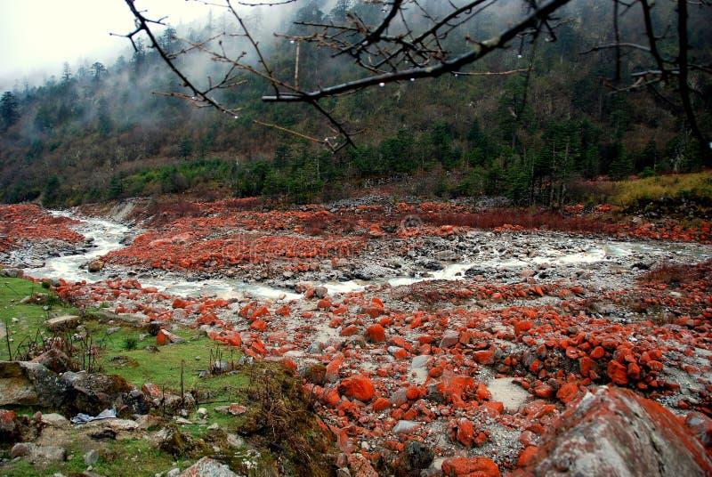 Ganzi, Chine : STATIONNEMENT national de roche rouge photos libres de droits