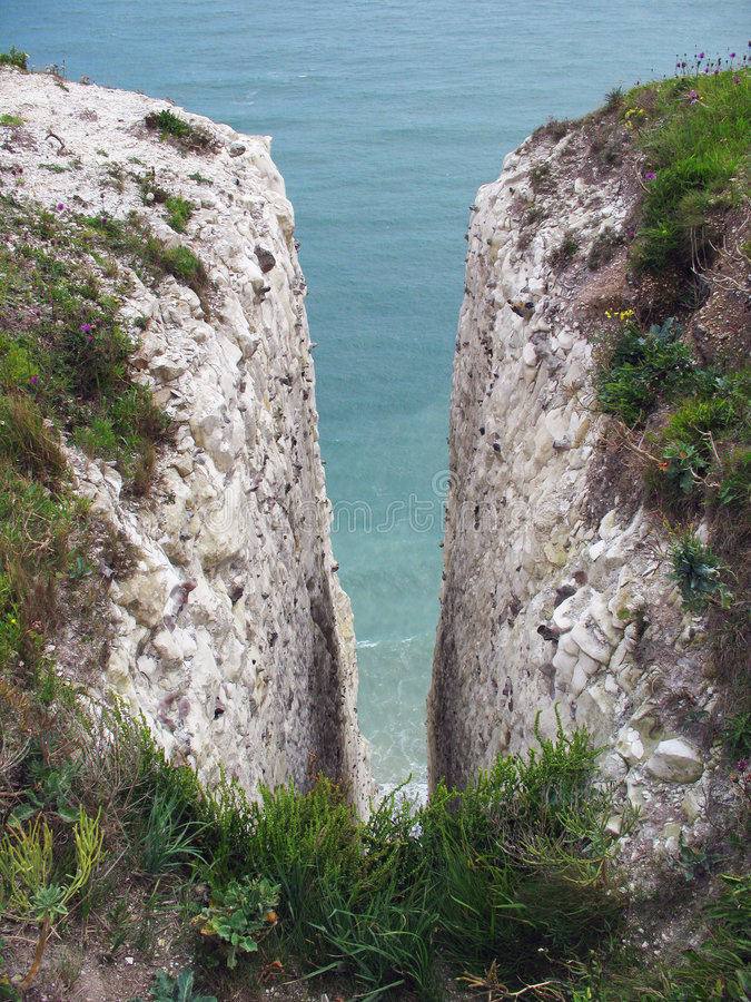 Gap. A crack in the cretacious cliffs of Dover royalty free stock photo
