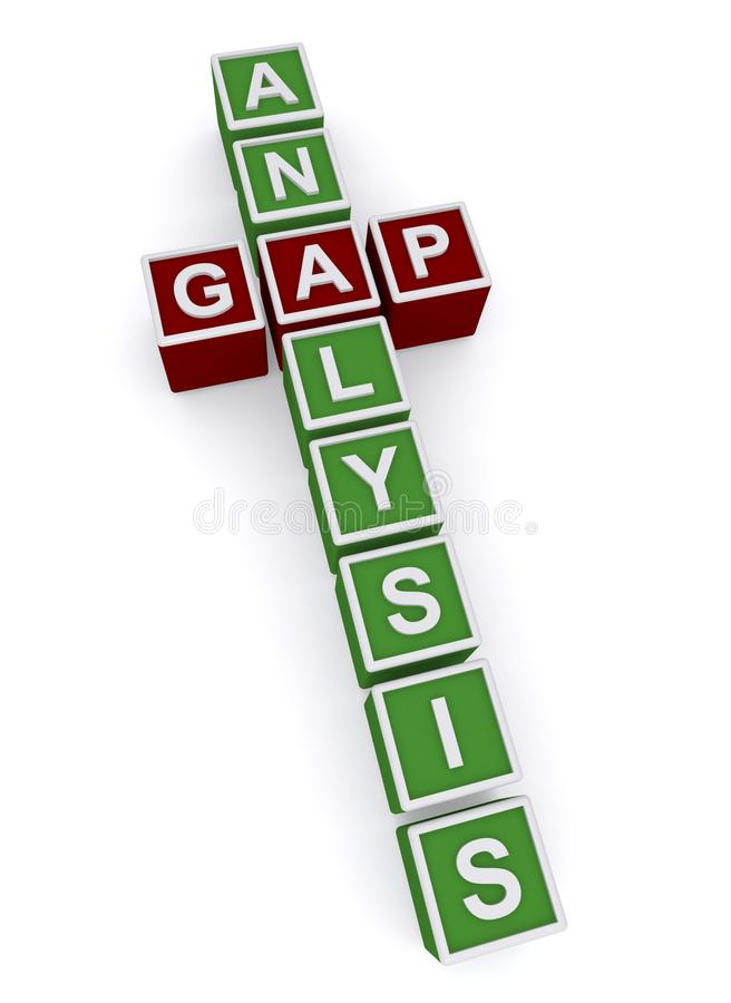 Gap analysis. An illustration of a crossword with the words gap analysis vector illustration