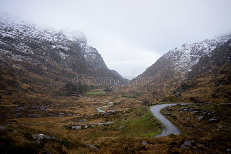 Gap de Dunloe no inverno, Killarney, a República da Irlanda fotografia de stock