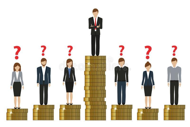 Gap entre los ricos y el concepto pobre de las finanzas del trabajo con las monedas libre illustration