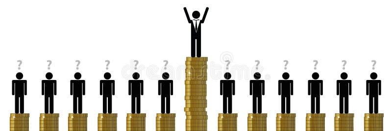 Gap entre uno rico y muchas personas pobres financia el pictograma stock de ilustración