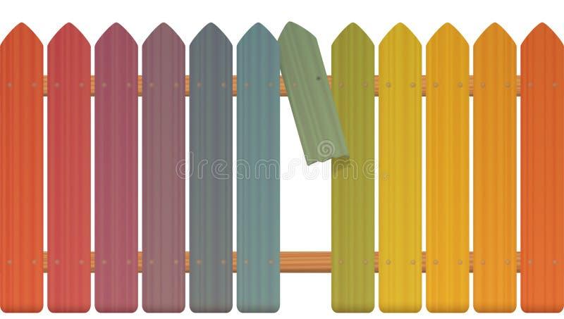 Gap im Zaun Colored Pickets lizenzfreie abbildung