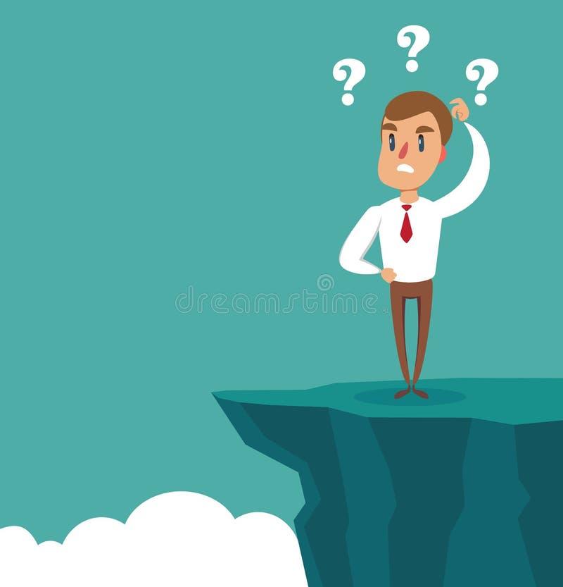 Gap na maneira ao sucesso Posição do homem de negócios na frente do abismo Conceito do desafio do neg?cio Resolu??o de problemas ilustração royalty free